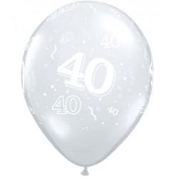 40 CRISTAL TRANSPARENT 28 cm de diamètre qualatex Chiffres De 18 A 100 Ballons Imprimes
