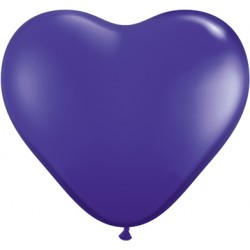 Coeur violet cristal 15 cm qualatex poche de 25