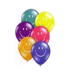 smile face 12 cm de diamètre qualatex jewel transparent en poche de 10 ballons