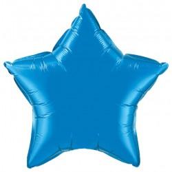bleu saphire étoile mylar métal 90 cm de diamètre non gonflé