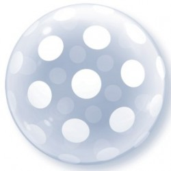 deco bubble 51 cm de diamètre big polka dot all around QUALATEX Cristal