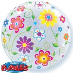 bubble fleurs printemps 56 cm de diamètre 18690 QUALATEX Les Bubbles Imprimês