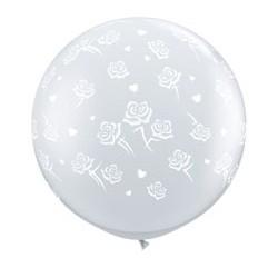Coeurs et roses ballon 90 cm transparent