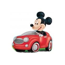 mickey dans sa voiture ballon mylar 71*71 cm non gonflé