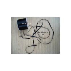 ruban double satin 6 mm noir par 10 m Oaktree Ruban Satin 6Mm