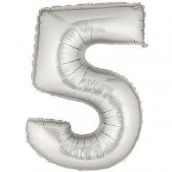 5 ARGENT Chiffre métal mylar 5