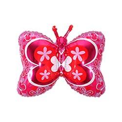 papillon rose mylar 70 cm à plat vendu non gonflé
