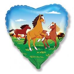 coeur imprimé chevaux ballon mylar 45 cm à plat Animaux