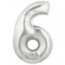 6 ARGENT Chiffre métal mylar 6