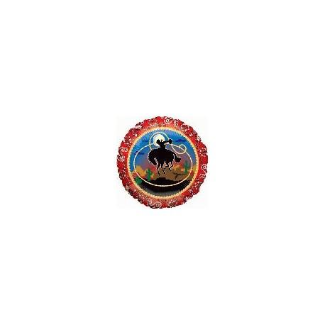 cow boy ballon rond 45 cm à plat non gonflé Fiesta
