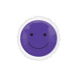 smile violet : ballon mylar 45 cm à plat