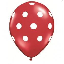 25 ballons ROUGE à gros points BLANC 28 cm diamètre