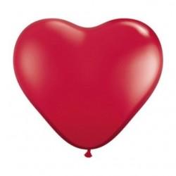 Coeur qualatex 28 cm rouge rubis cristal poche de 25