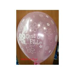 C'est une fille ballons perlé rose 28 cm