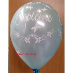 Baptême ballons bleu perlé