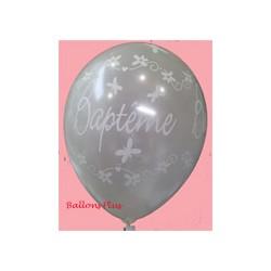 Baptême ballons perlé blanc