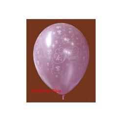 vive les mariés ballons rose perlés par 5