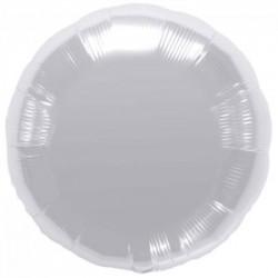 ballon mylar métal rond argent45 cm à plat