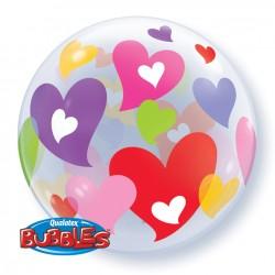 bubble imprimé coeurs couleurs 56cm