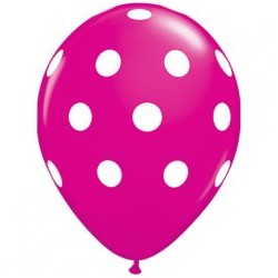 ballons imprimés gros points blancs qualatex wild berry framboise