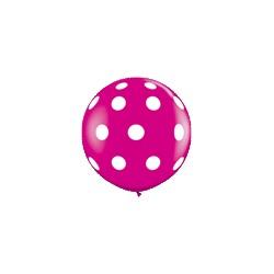 ballons framboise à gros points blancs