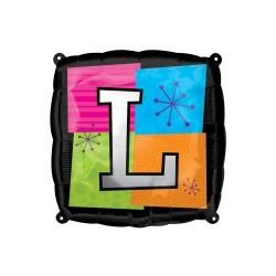 LETTRE L ballon mylar AMSCAN Lettres Mylar Carre 45 Cm (Gonflage Air Ou Hêlium)