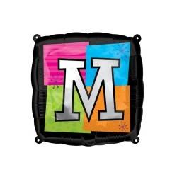 LETTRE M ballon mylar AMSCAN Lettres Mylar Carre 45 Cm (Gonflage Air Ou Hêlium)
