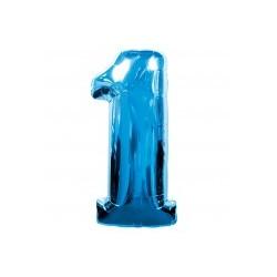 Chiffre 1 bleu ballon mylar