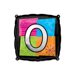 LETTRE O ballon mylar AMSCAN Lettres Mylar Carre 45 Cm (Gonflage Air Ou Hêlium)