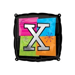 LETTRE X ballon mylar AMSCAN Lettres Mylar Carre 45 Cm (Gonflage Air Ou Hêlium)