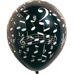 ballons blanc et noir impression notes musique
