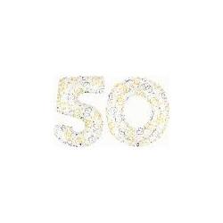 50 2 CHIFFRES BALLONS BLANC ET COEURS