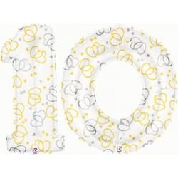 10 2 CHIFFRES BALLONS BLANC ET COEURS 10 Em Anniversaire De Mariage