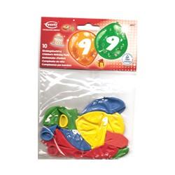 Ballons imprimés 9 tout autour Chiffres De 1 A 10 Anniversaire
