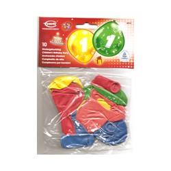 Ballons imprimés 1 tout autour CHIFFRES 0 à 9