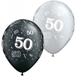 50 noir et argent 28 cm de diamètre qualatexQ25226NOIRARGENT50P25P1 Chiffres De 18 A 100 Ballons Imprimes