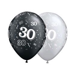 30 noir et argent 28 cm de diamètre qualatex Chiffres De 18 A 100 Ballons Imprimes