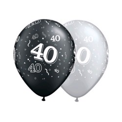 40 noir et argent 28 cmQ25225NOIRARGENTP1P25 Chiffres De 18 A 100 Ballons Imprimes
