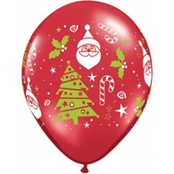 50 ballons Père Noël et sapin ballons baudruche 28 cm