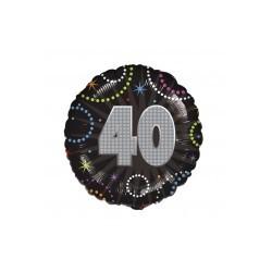 Ballon métal 45 cm diamètre 40 anniversaire Anniversaires Chiffres
