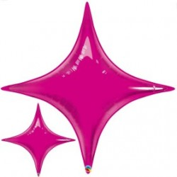 star point ballon mylar fuschia 100 cm31872 QUALATEX Star Point 40 (100 Cm) Helium Ou Air