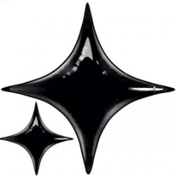 star point ballon mylar noir 100 cm31981 QUALATEX Star Point 40 (100 Cm) Helium Ou Air