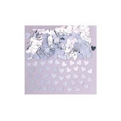confetti métallique coeurs argent