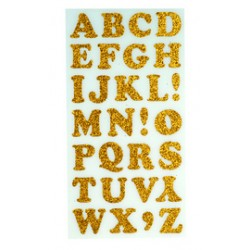 stickers velours alphabet or 1 feuille