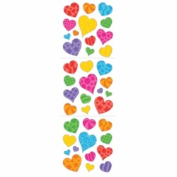 STICKERS COEURS COULEURS 1 feuille