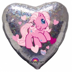 PETIT PONEY HOLOGRAPHIQUE BALLON METAL COEUR17304 My Little Pony