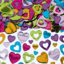 confetti métallique coeurs couleurs
