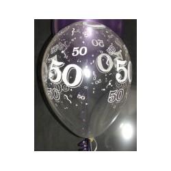 50 cristal transparent 28 cm de diamètre qualatex Chiffres De 18 A 100 Ballons Imprimes
