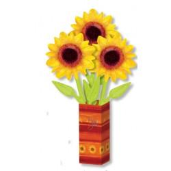 Bouquet ballons 3 fleurs soleil