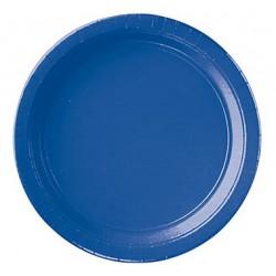 8 assiettes carton 22,9 cm bleu royal